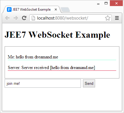 JEE7 WebSocket Example | Dream and Me